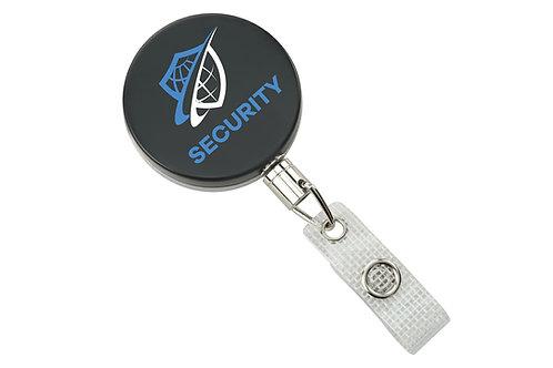Badge Reel, Heavy-Duty, Black /Chrome, Badge Reel W/Link Chain & Reinforced...