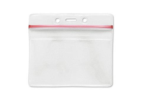 Badge Holder, Horizontal, Data/Credit Card, Zip-Lock W/Red, Stripe Badge Holder
