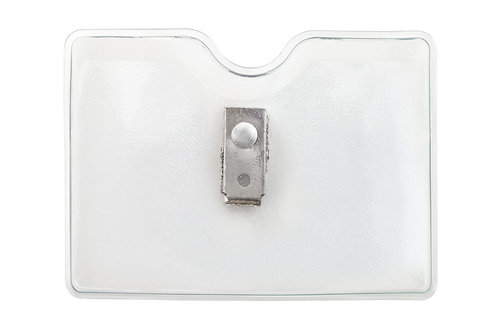 """Convention Badge Holder - 2 1/3 X 3 3/8"""" Horizontal Top Loader Clear Vinyl W/ 2"""