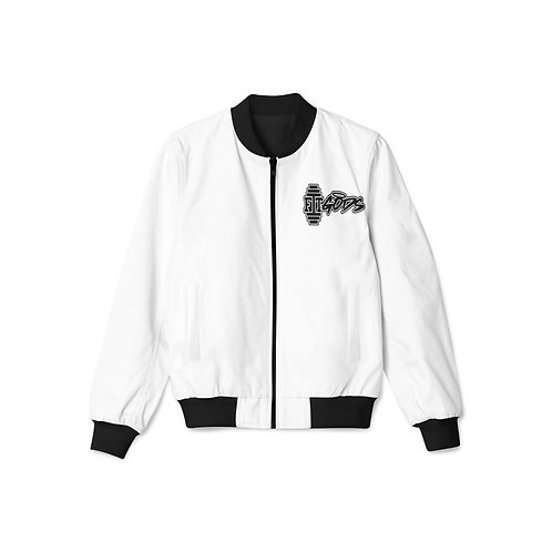 White with Black Zipper