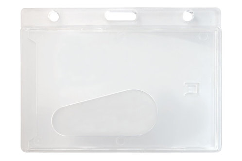 Badge Holder, Horizontal, Side Load, Frosted, Rigid Plastic Access Card