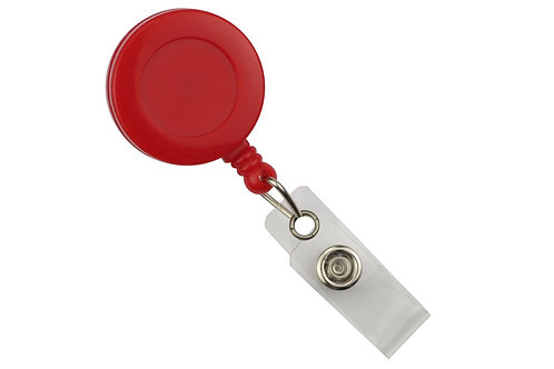 Red Round Badge Reel With Strap And Swivel Clip