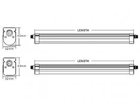 IP65 Batten Product Dimension