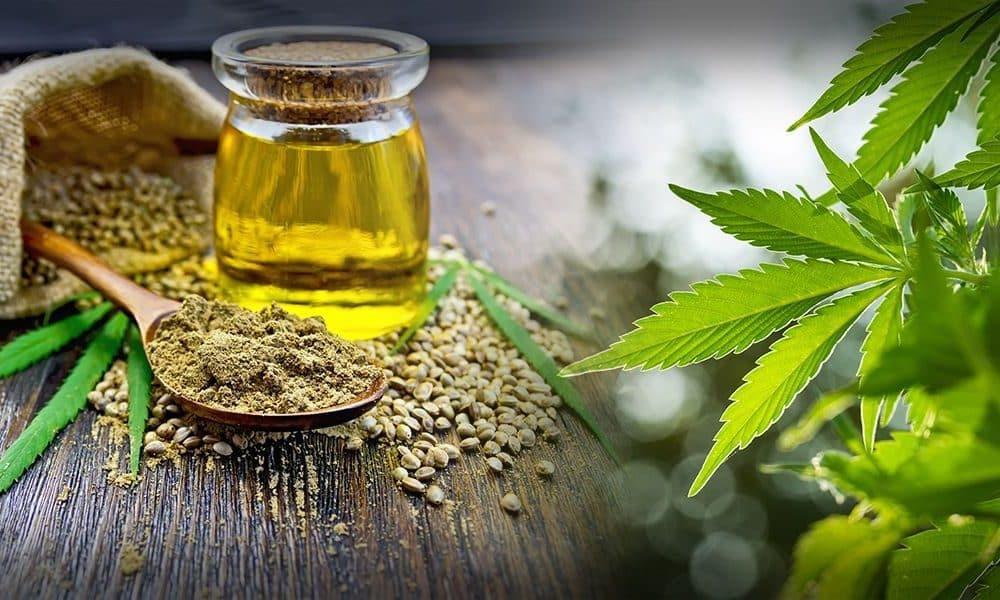 Oil n a jar, hemp, seeds, powder and leaves