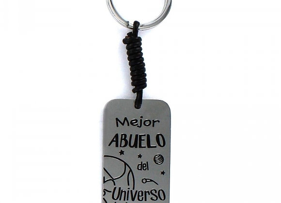 Llavero Happy De Acero Rectangular Mejor Abuelo Del Universo  9101897