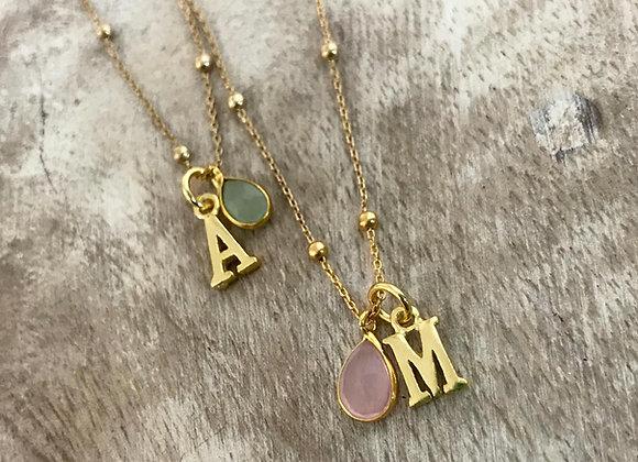 .Collar Personalizable Letra Piedra Natural y Baño de Oro - 000880130/00088