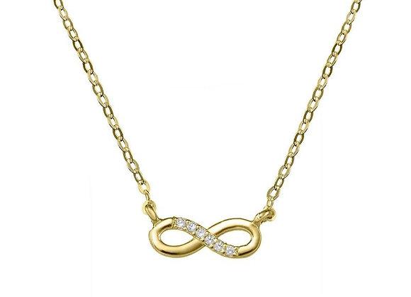 Collar de oro 18k con infinito con 6 brillantes (76AGA008)