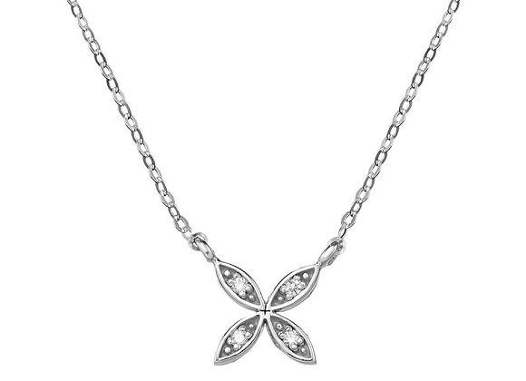 Collar de oro blanco con flor 4 brillantes (76BGA006)