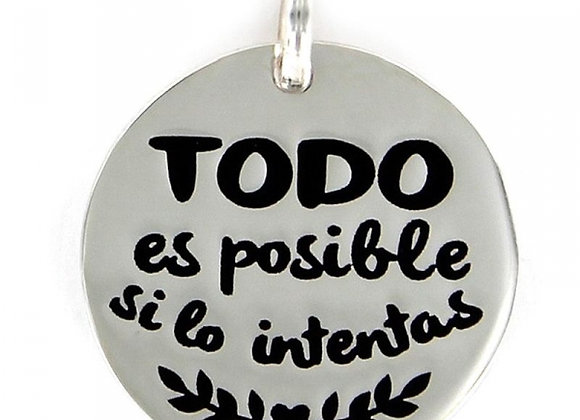 Colgante My Life Disco De18 Mm Todo Es Posible Si Lo Intentas 9099759