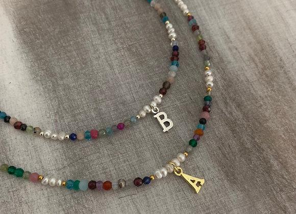 Collar con Piedras Naturales Letra  -000060497/ 0000830318M-1-1