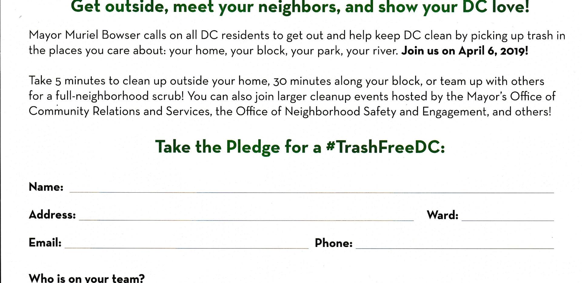 Mayor's April 6th Trash Free DC Pledge 0