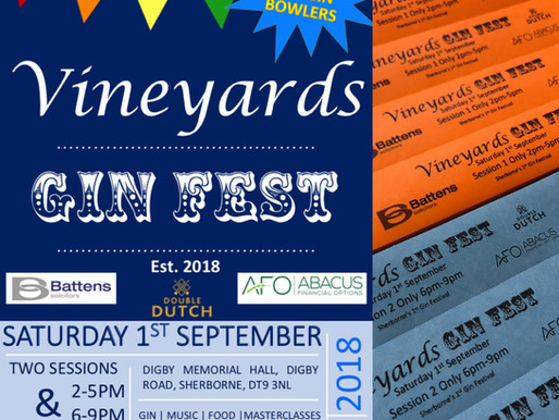 Proud supporters of Vineyards Gin Festival in Sherborne