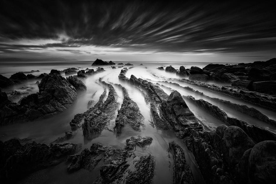 long exposure of sea shore and rocks