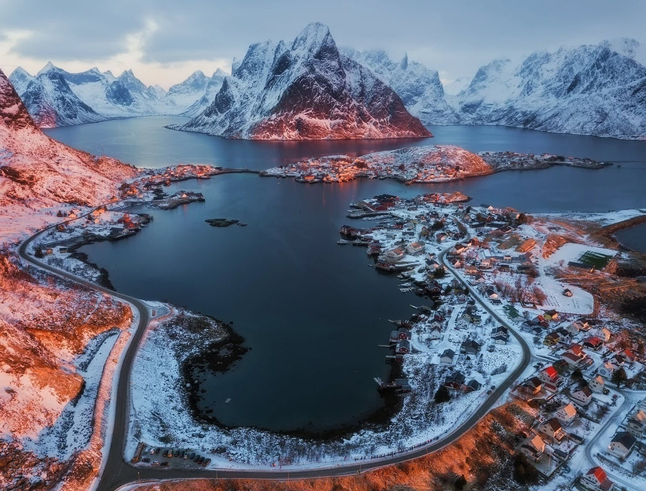aerial landscape photo of snowed lofoten in winter