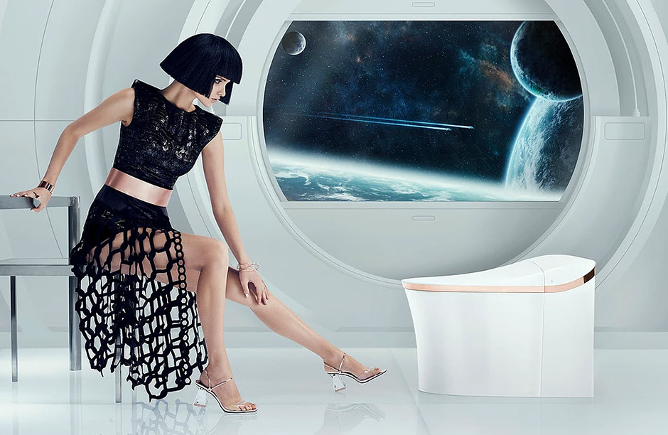 futurist advertising photography woman in space