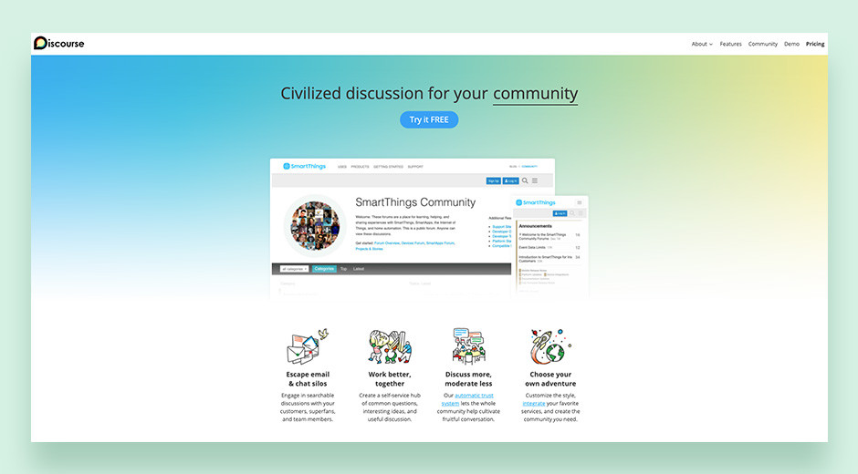 Discourse self-moderated community forum software