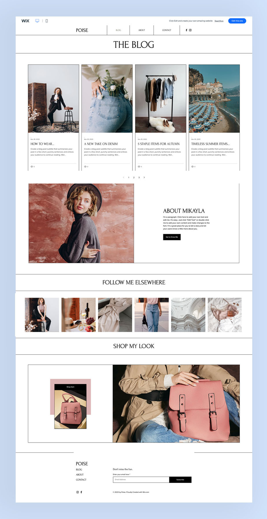 fashion blog wix website template