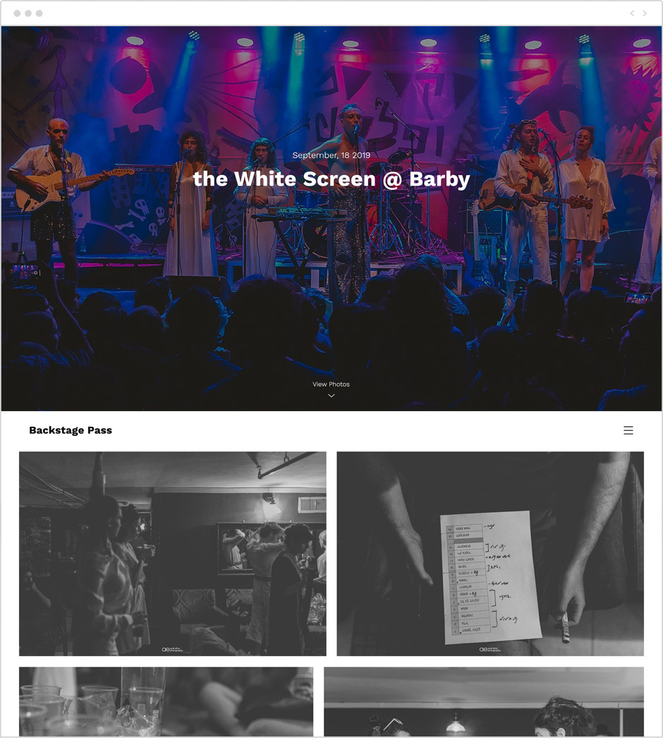 Ariel Efron photography website uses Wix Photo Albums