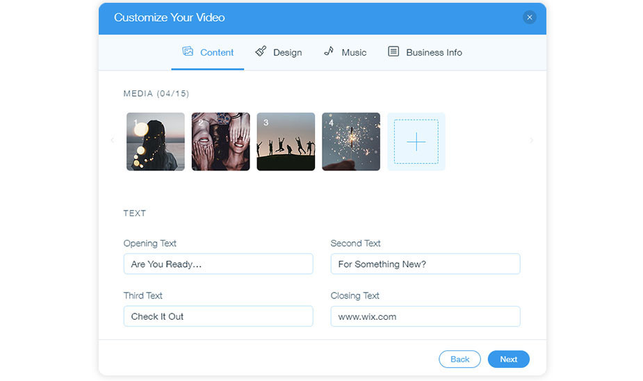 Wix Video Maker free online video editor