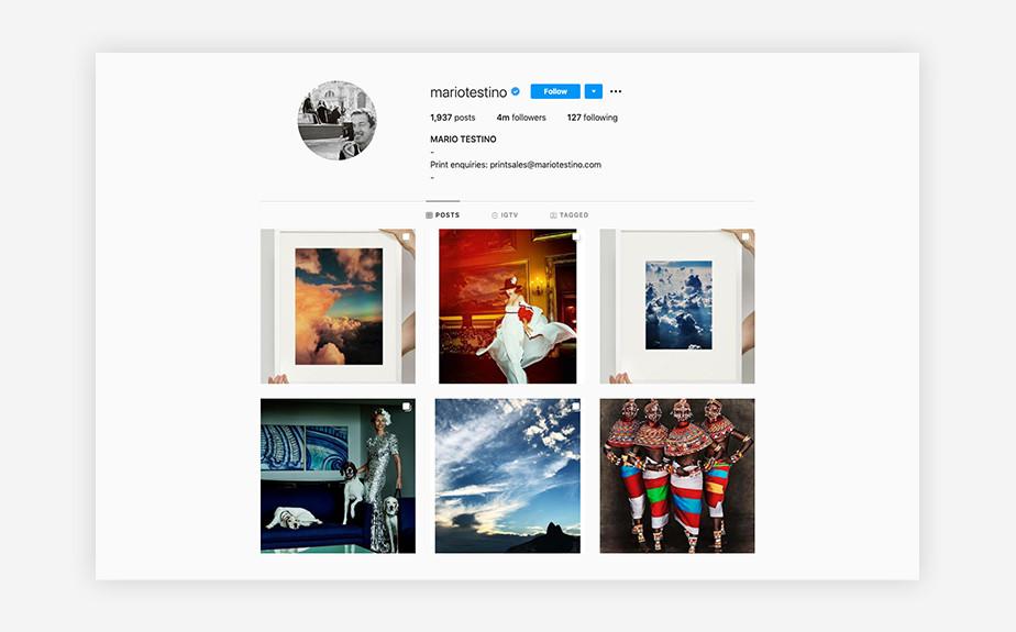 Mario Testino best Instagram photographers
