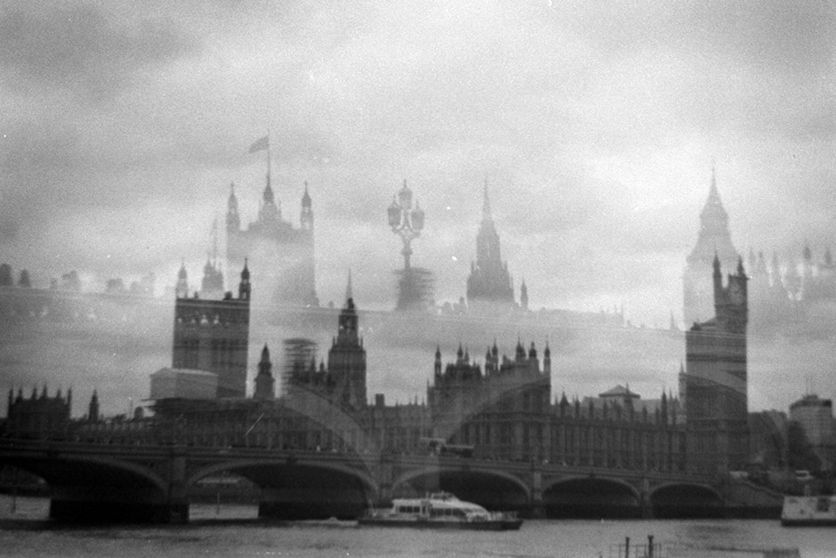 monochrome double film exposure of Palace of Westminster and Westminster bridge