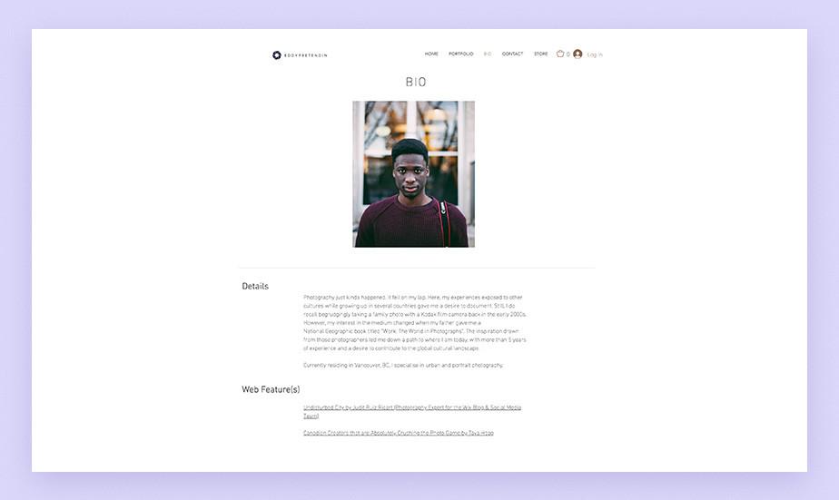 self-portrait on photographer bio