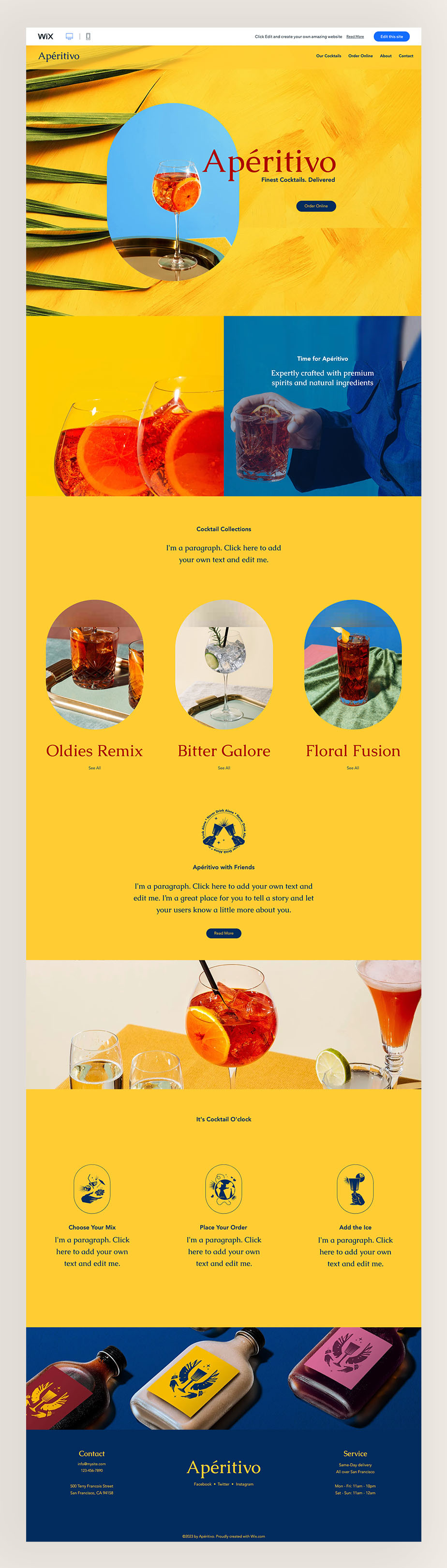 cocktail delivery service wix website template