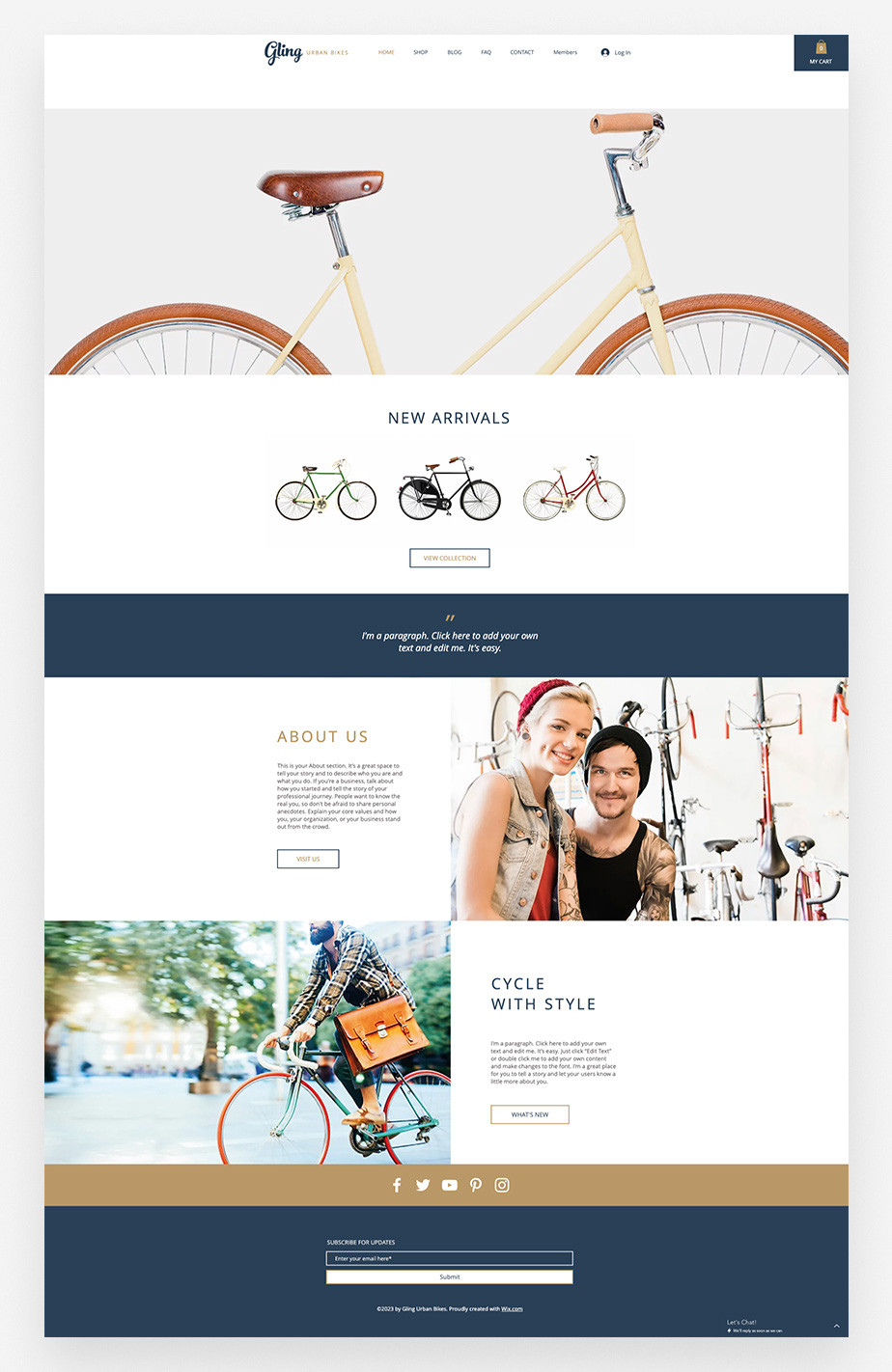 Bicycle store eCommerce Wix website template