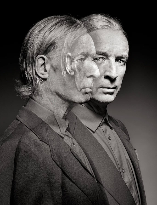 double exposure portrait of old man