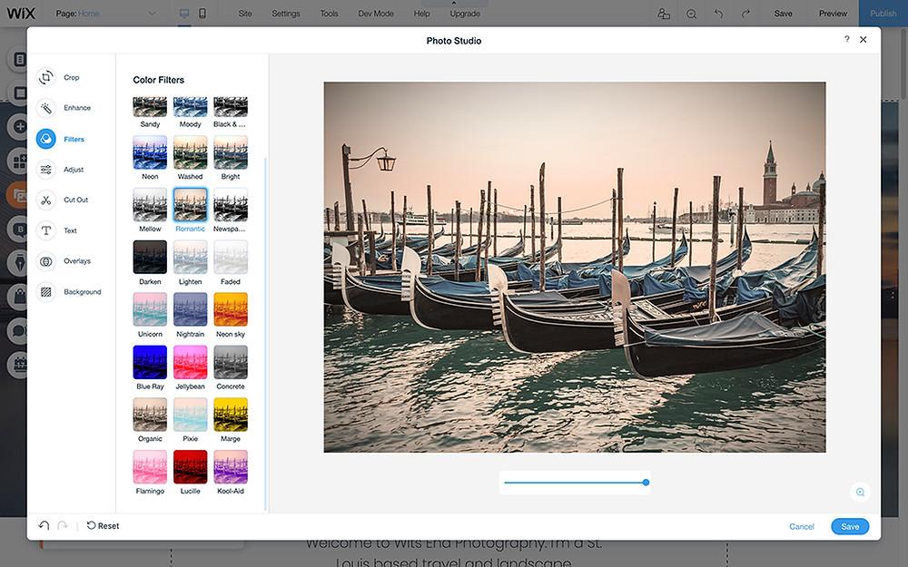 online photo filters wix photo studio
