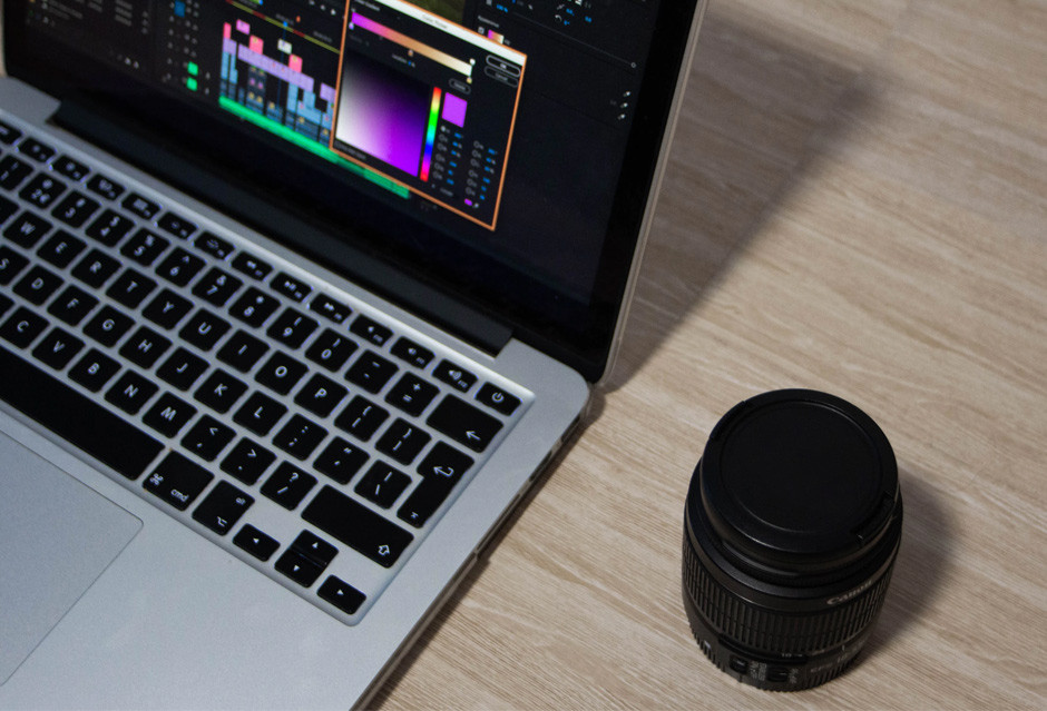 camera lens and video editing software