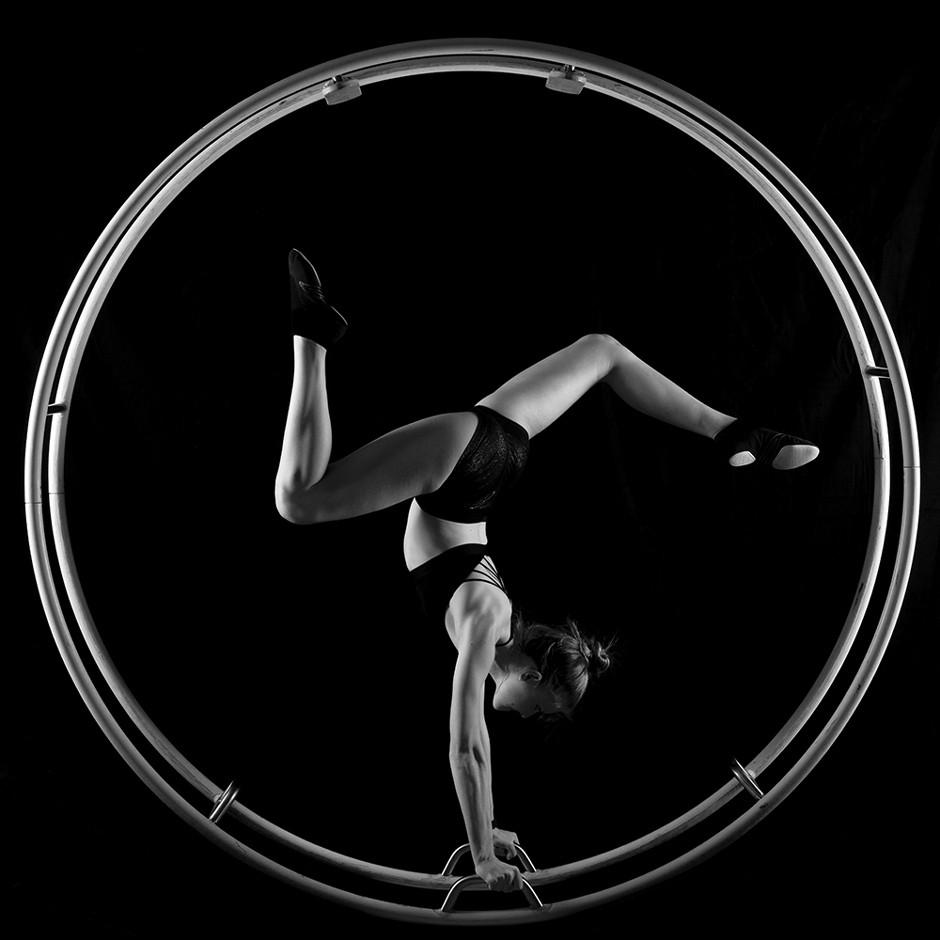 portrait of athlete in a wheel