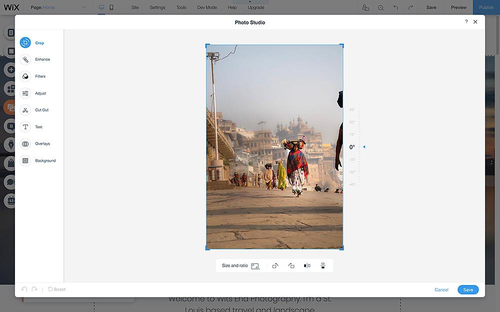 wix photo studio crop photos online