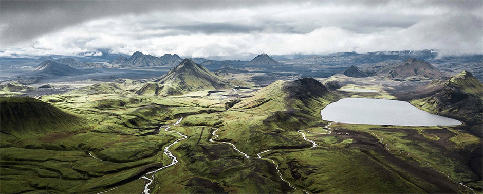panoramic landscape photo of iceland mountains and lakes