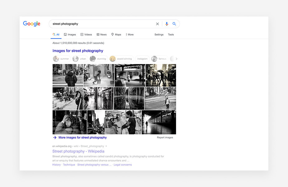 Google results for street photography