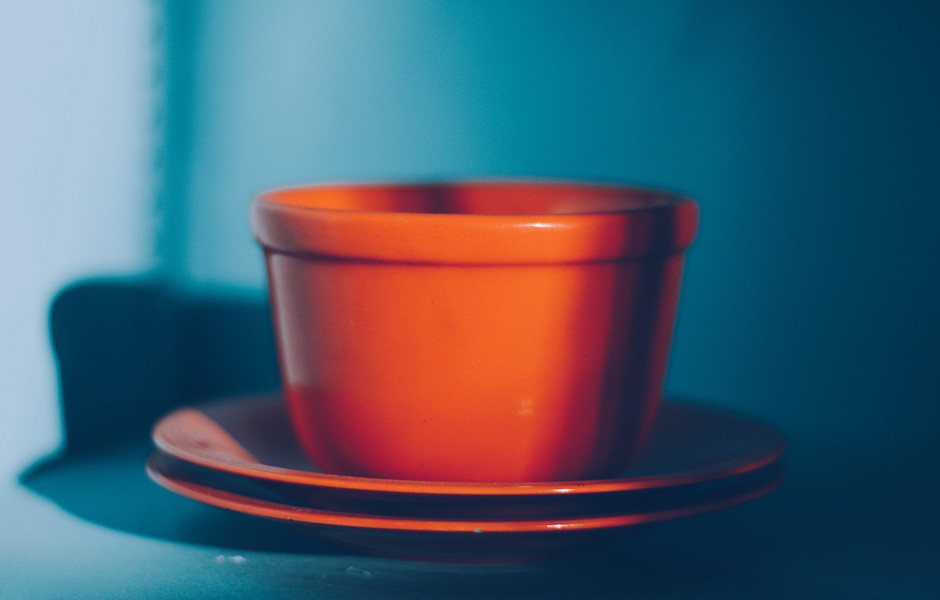 complementary color scheme orange teal ceramic cup