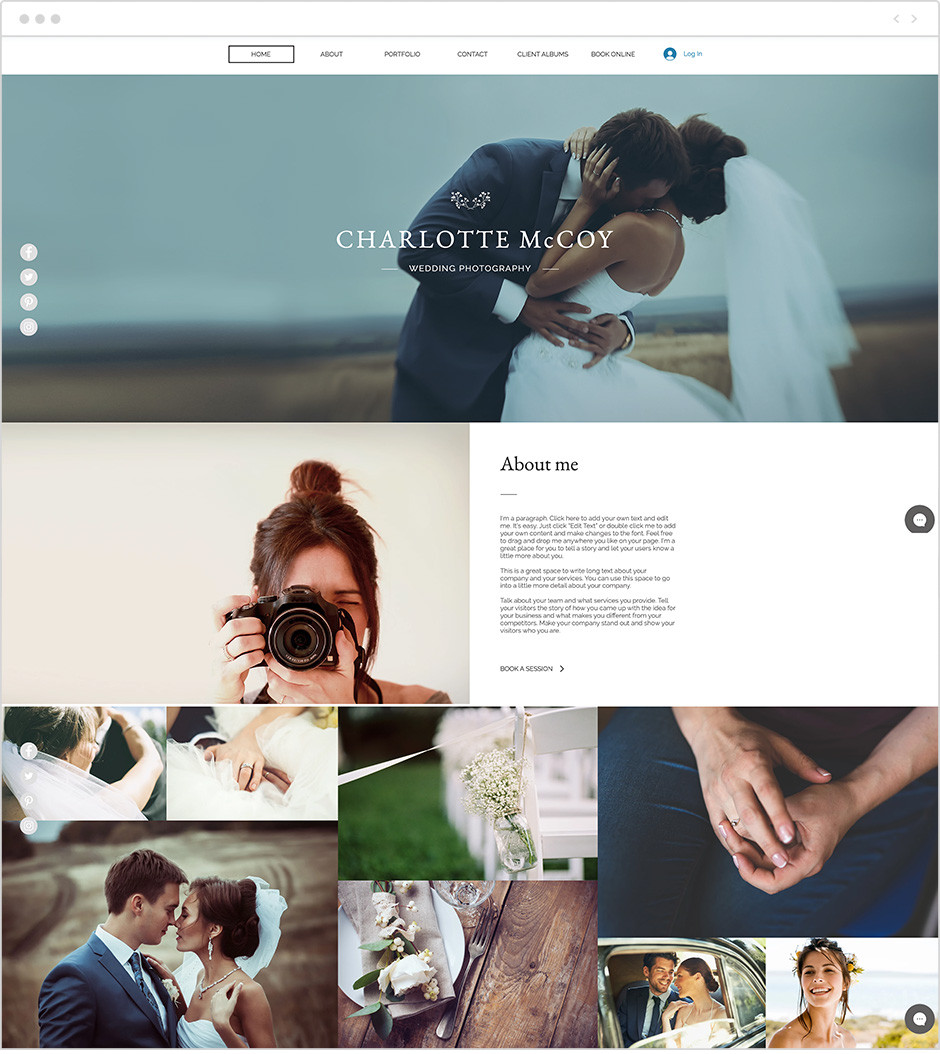 wedding photography website template