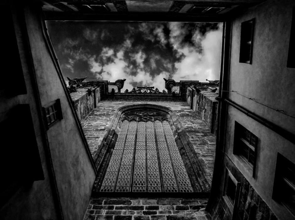 monastery building seen from below