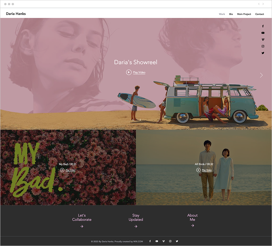 wix video website template