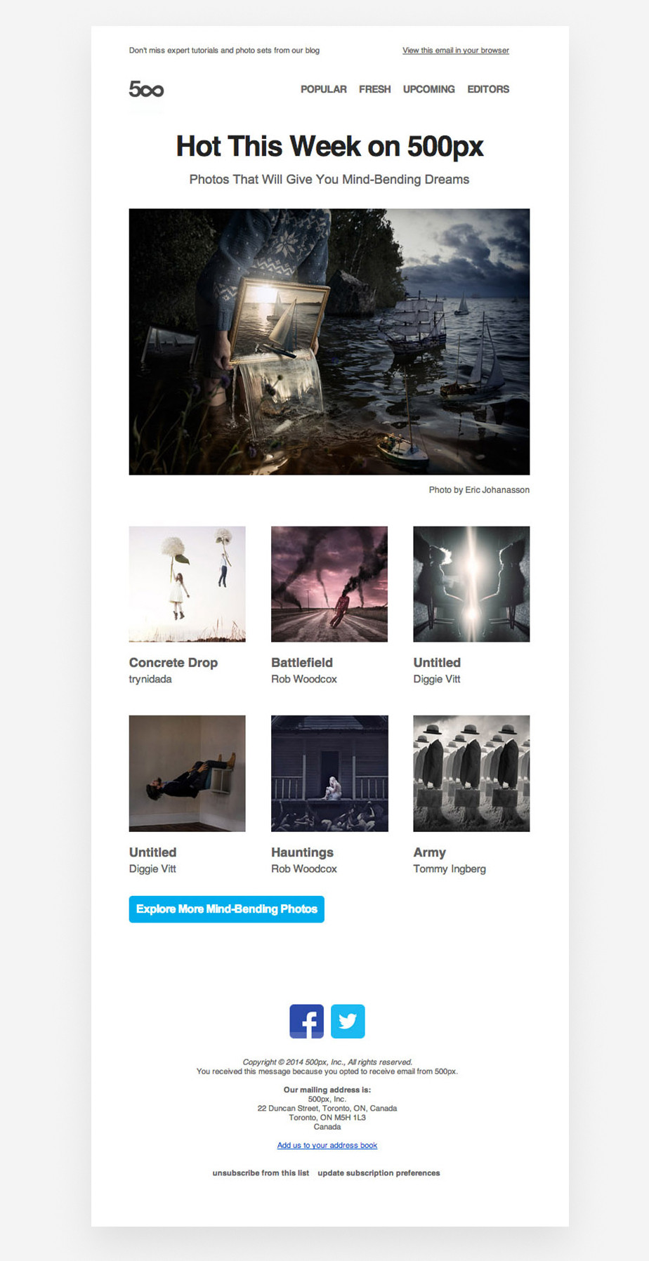 beautiful photography newsletter example