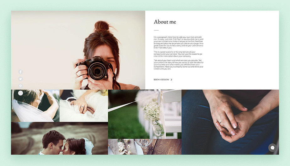 photography website template bio with bookings CTA