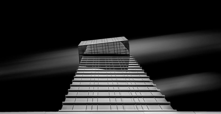 modern glass building seem from below