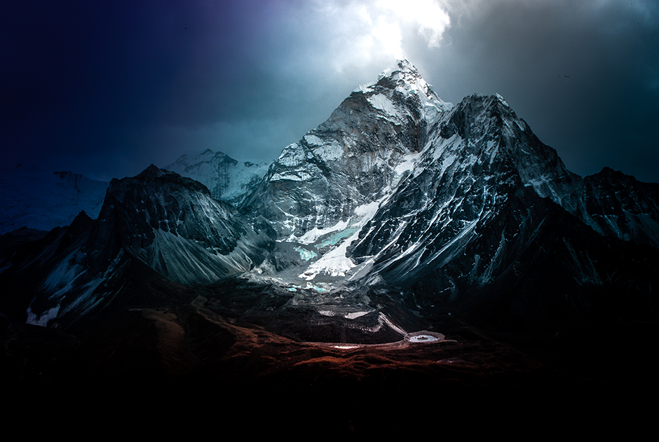 dramatic landscape of snowed mountains