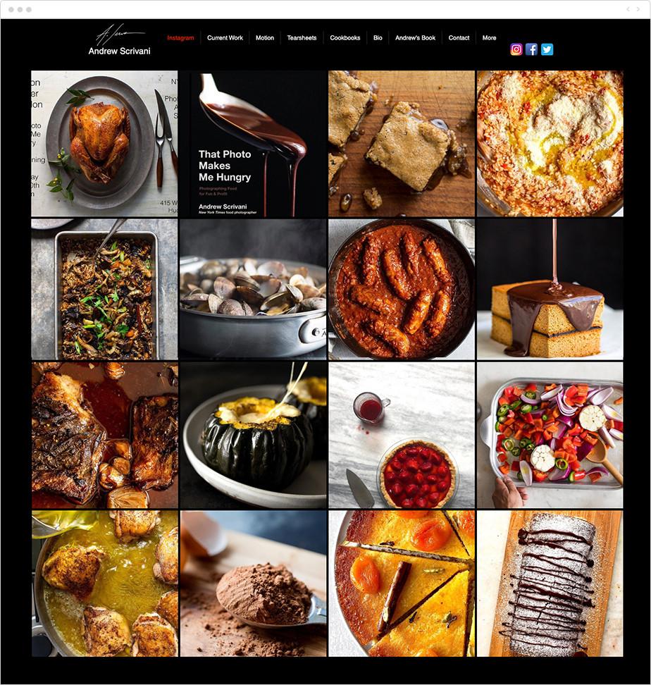 food photography portfolio instagram feed