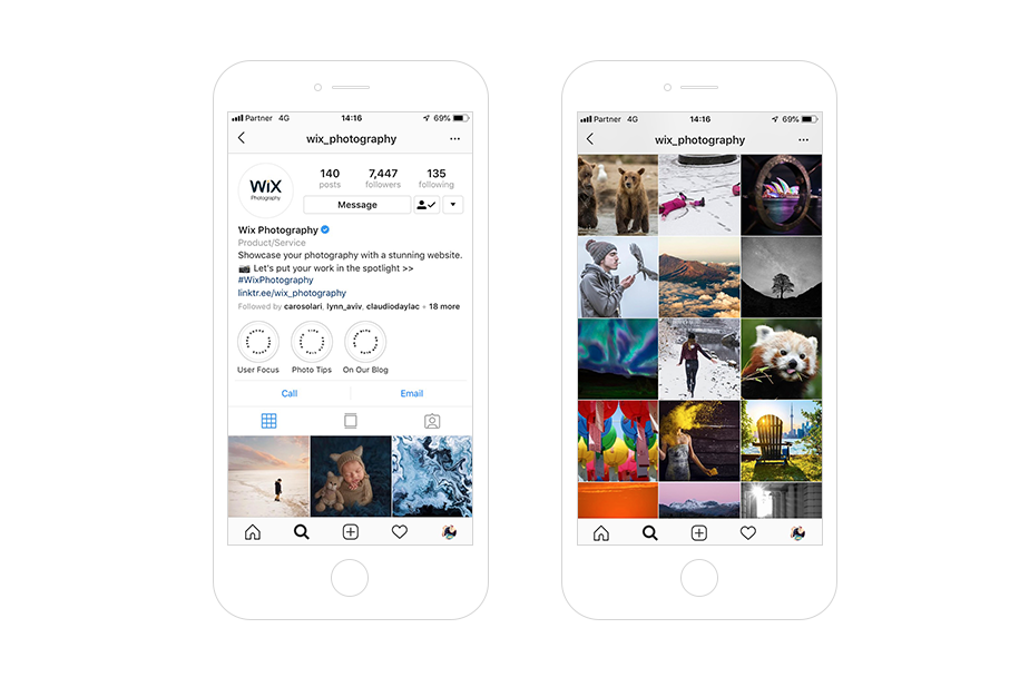 instagram wix photography hub features account