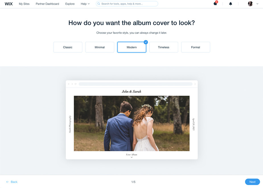 share photos with clients with wix albums