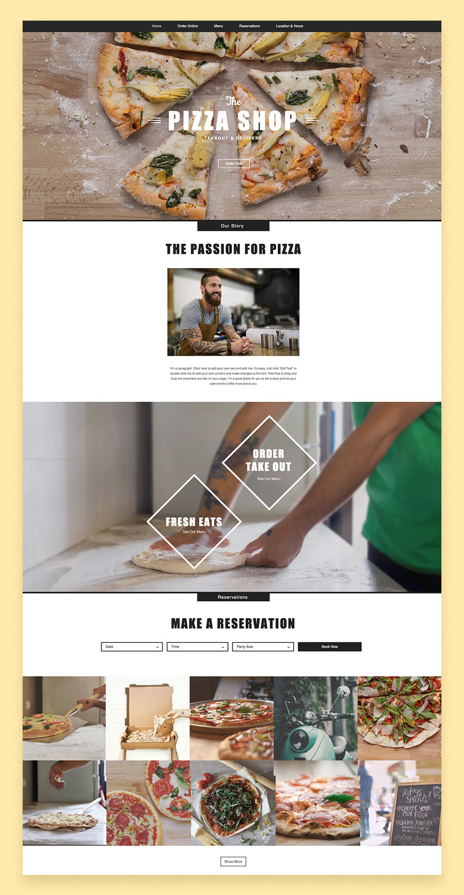 pizza restaurant wix website template