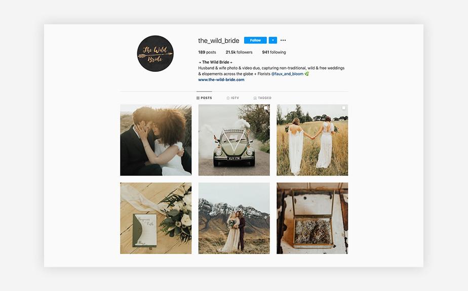 The Wild Bride wedding photography Instagram account