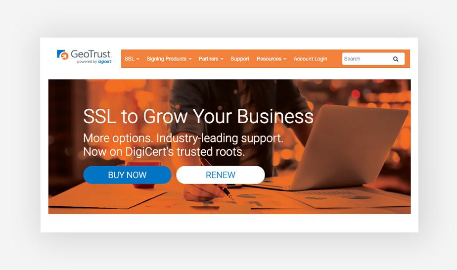 GeoTrust - best SSL certificates for large businesses
