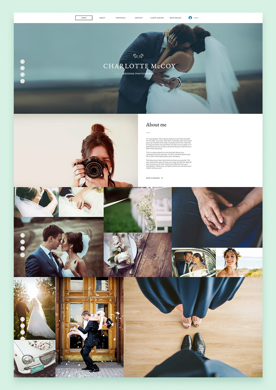Wedding photography Wix website templates